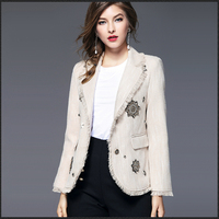 Long Sleeve Print Blazer Women Plus Size Embroidered Office Suit Blazer Vrouwen Abrigos Mujer Button Ladies Jackets 50N0731
