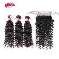 Али queen hair продукты бразильский глубокая волна вьющиеся натуральная человеческих волос 3 Связки с 4*4 закрытие кружева Бесплатная доставка
