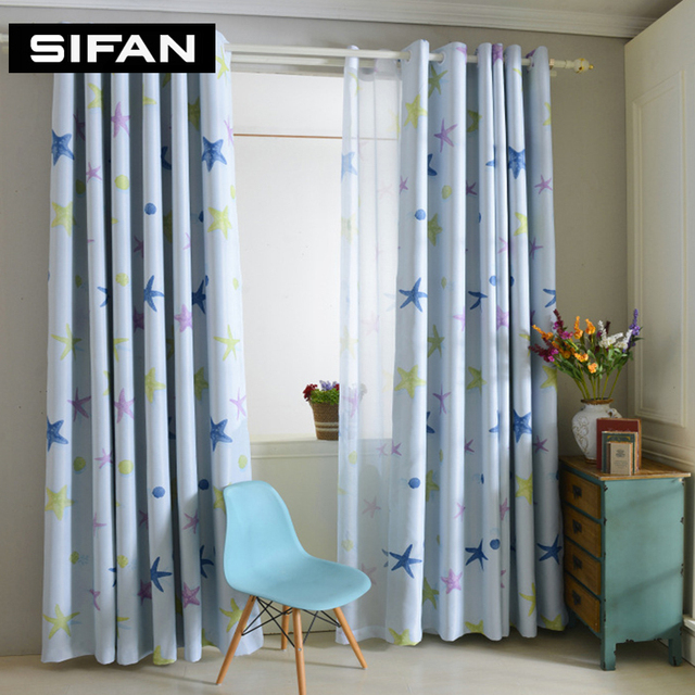 Modern Star Pink Blue Curtains Thick Bedroom Blackout Curtains For Living  Room Bedroom Tulle Sheer Kids