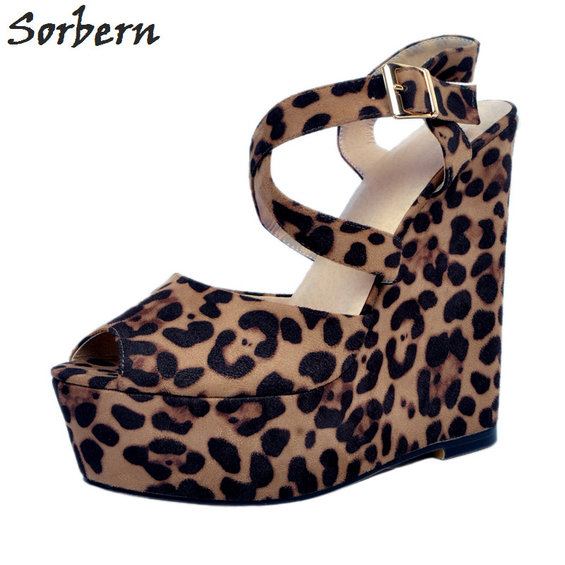 Sorbern Leopard Plus Size Women Sandals Wedges Buckle Strap Sandalias Mujer 2018 Peep Toe Sandals Women Wedges Shoes For Women sorbern women sandals wedges shoes peep toe ladies party shoes elastic band peep toe plus size designer luxury women shoes