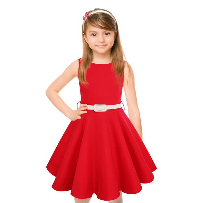 High Quality Girls Hepburns Vintage Swing Rockabilly Retro Sleeveless Party Dress for Occasion