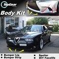 Deflector de Labios Lip Bumper Para Alfa Romeo 156 AR 1997 ~ 2007 Frente alerón Falda Para TOPGEAR Amigos Tuning/Kit de Carrocería/tira