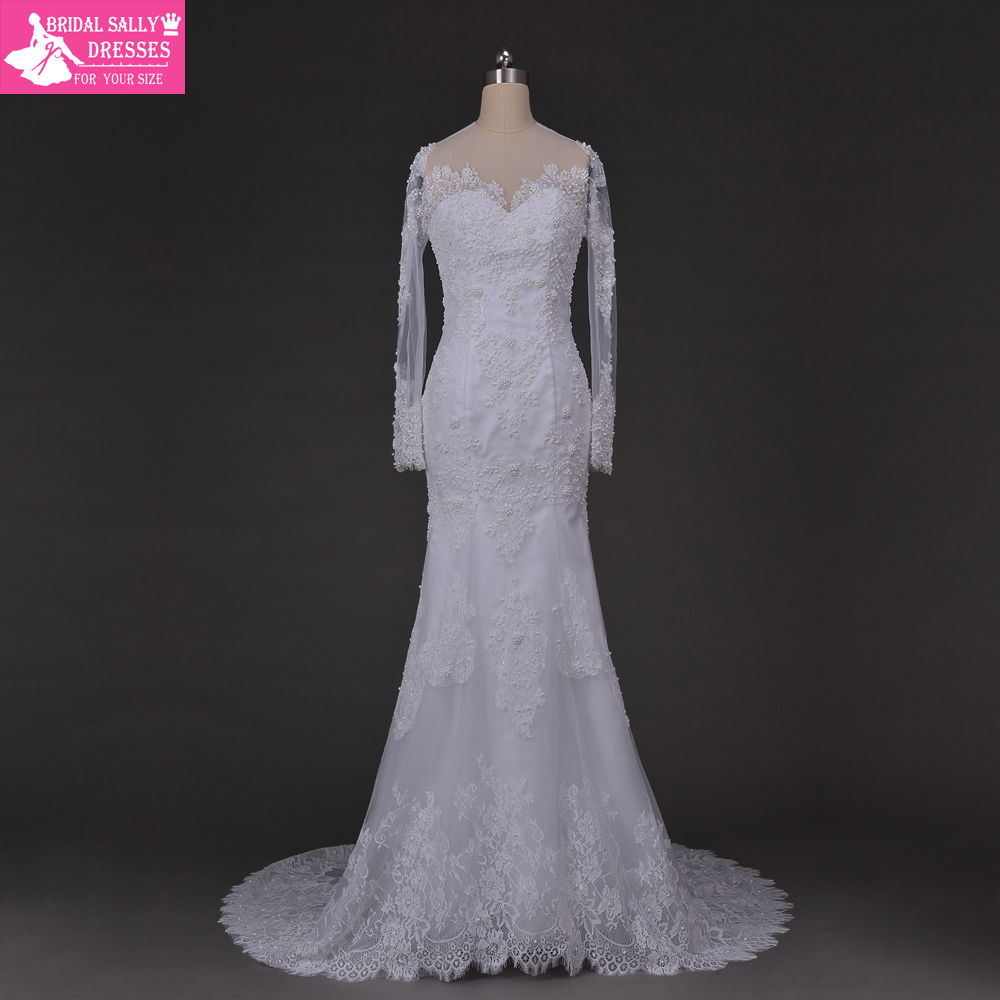 Romantic sexy see through scoop long sleeves chapel train for Mermaid wedding dress with long train