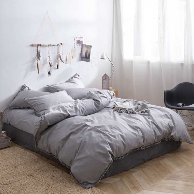 Grey Bedding Sheet Pillowcase Queen Size Bed Sheets Set Duvet Cover Personalized Pom
