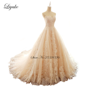 Image 3 - Liyuke Embroidery Strapless A Line Wedding Dress Floral Print Lace Elegant Bridal Dress  Lace Up with Court Train