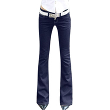 Womens Flare Jeans Dark Blue Low Waisted Long Bell Skinny Spandex Tights Mulheres Jean Woman Denim Pants For Slim Hip Women