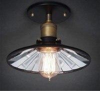 Loft Vintage 22CM Inside Mirror Ceiling Lights Lamp Fixtures American Retro E27 Edison Bulb Home Bedroom Bar Semi Flush Mount