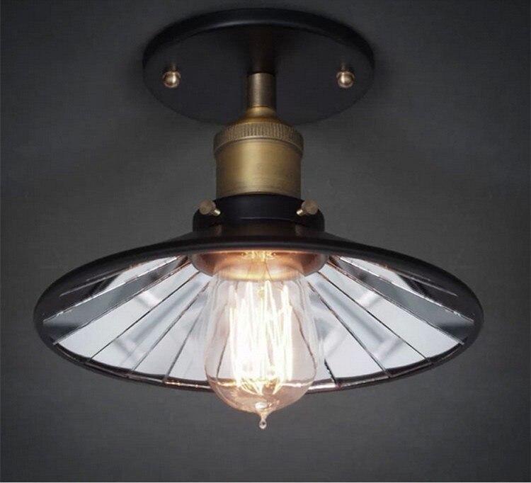 Loft Vintage 22CM Inside Mirror Ceiling <font><b>Lights</b></font> Lamp Fixtures American Retro E27 Edison Bulb Home Bedroom Bar Semi <font><b>Flush</b></font> <font><b>Mount</b></font>