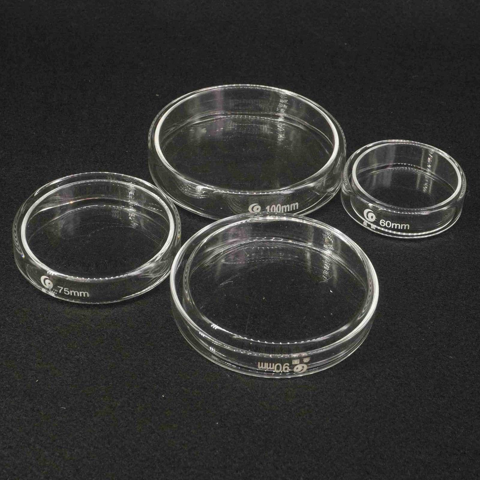 60/75/90/100/120mm  Borosilicate Glass Petri Culture Dish With Lids For Laboratory Bacterial Yeast Teaching