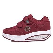 Новинка; женская обувь; цвет черный, фиолетовый; обувь для похудения; дышащая обувь на платформе; обувь на танкетке для здоровья; Feminino Zapatillas Deportivas Mujer