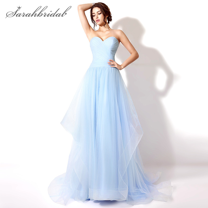Charming Sky Blue   Prom     Dresses   Sweetheart Floor Length Actual Images Long Lace Back Party Evening Gown Tulle robe Hot sale SD239