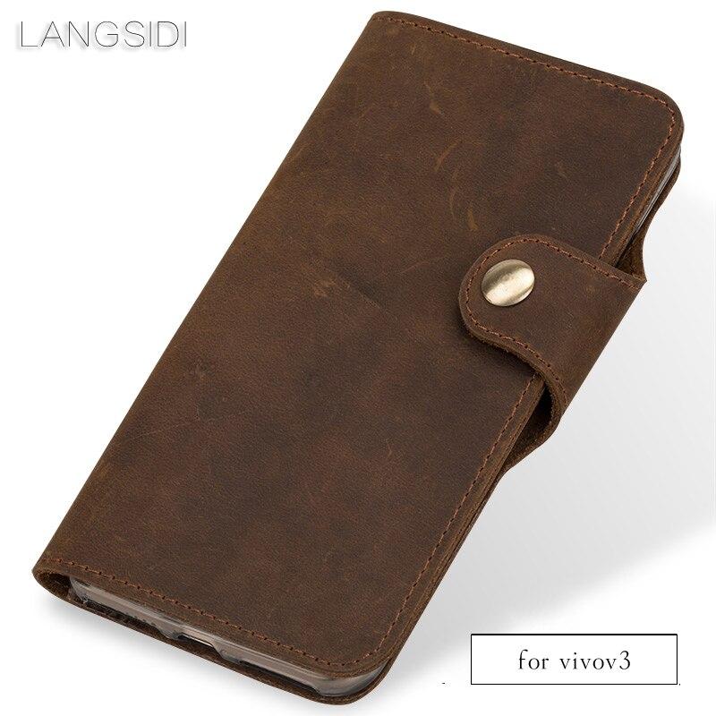 Wangcangli Véritable En Cuir téléphone cas en cuir rétro flip téléphone cas Pour Vivo v3 cas de téléphone à la main