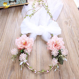 XinYun Fabric Flower Pearl Wedding Hair Accessories Crown