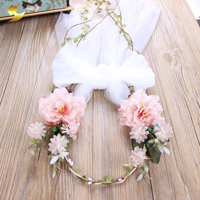 Aliexpress buy xinyun handmade flower crown white veil fabric xinyun handmade flower crown white veil fabric flower bridal headpiece pearl wedding hair accessories flower crown mightylinksfo