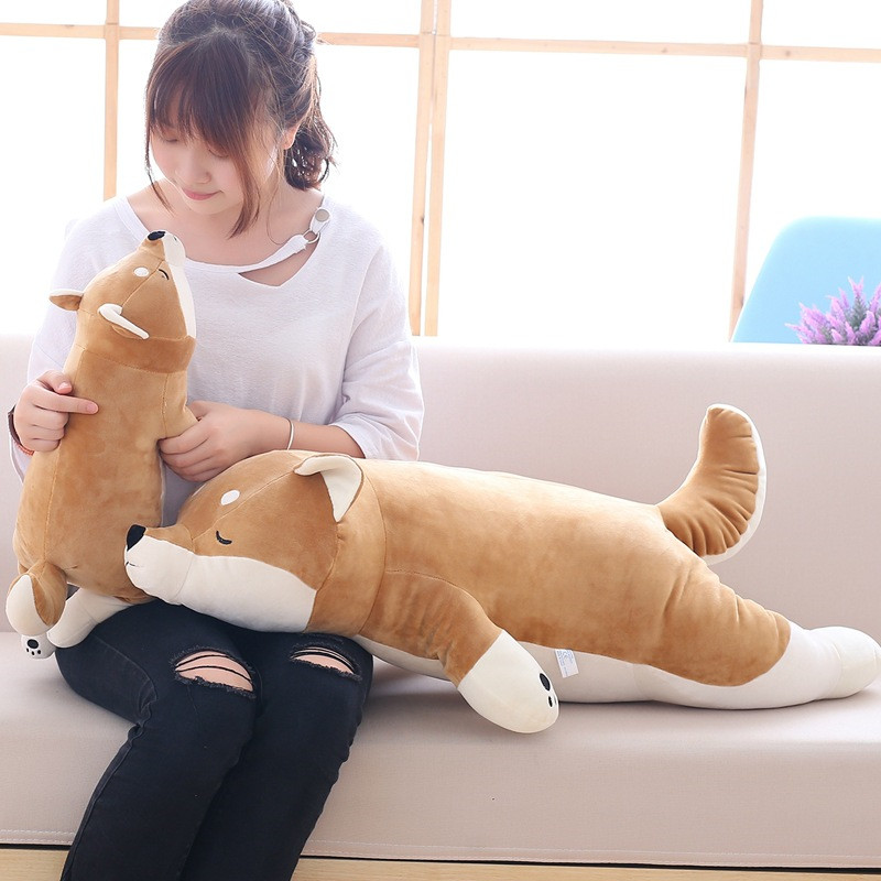 45/55/80/100cm Cute Short Legs Shiba Doll Cute Dog Akita Dog Plush Toy Shiba Inu Pillow Girl's Gift 80cm large super cute plush toy dog bulldog husky shiba pug pillow down cotton filling as a gift to the children and friends