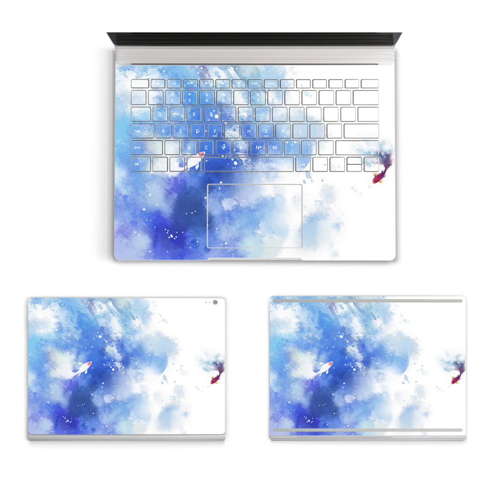 2017 Hot Sale Laptop Marble Sticker For Micro Surface Book Top Bottom Vinyl Decal+Keyboard Sticker Painting Skin Logo Cut Out colorful laptop sticker decal skins for macbook 11 13 15 17 inch sticker for mac book rainbow logo free shipping new arrival