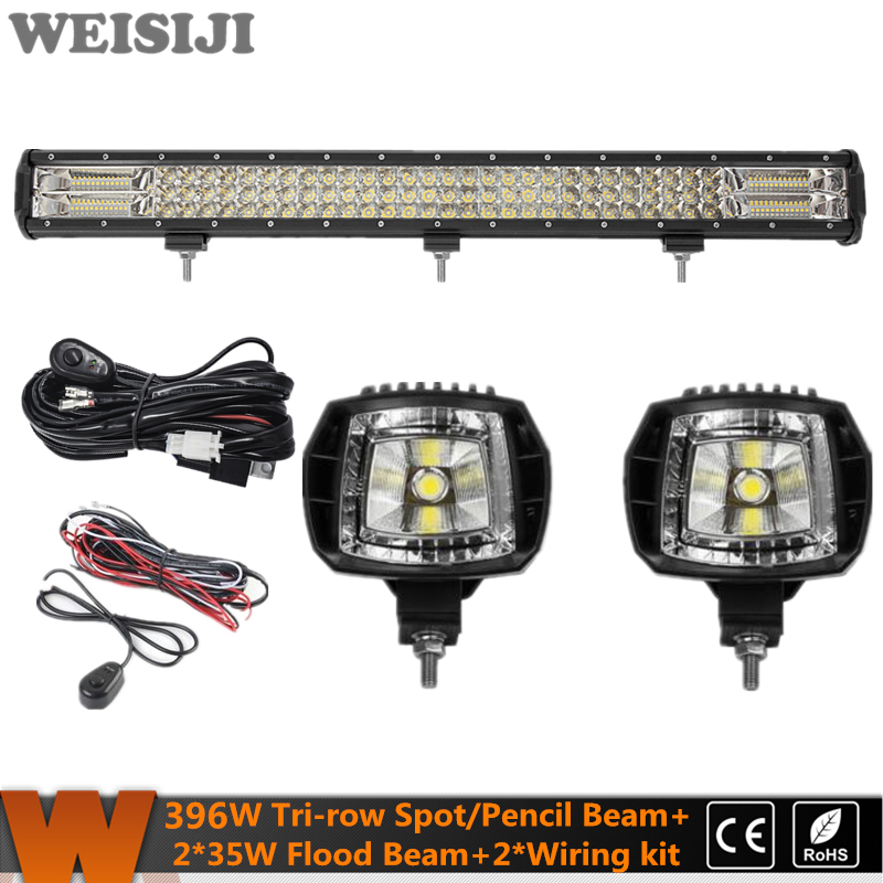 WEISIJI New Tri-row 396W LED Offroad Light Bar+2Pcs 35W Flood Beam LED Work Light+2Pcs Wiring Kit Set for Jeep Truck SUV ATV UTV