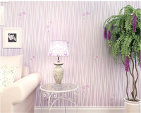 Beibehang high quality small flower living room non woven wallpaper wavy striped floral bedroom wedding room 3d wallpaper roll