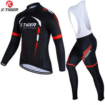 X-Tiger Winter Fleece Cycling Jersey Set Long Sleeve Mountain Bike Clothes Thermal Fleece Racing Bicycle Cycling Clothing - DISCOUNT ITEM  45% OFF Sports & Entertainment