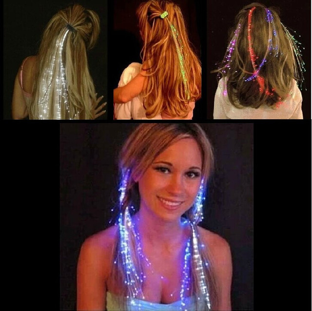 50pcslot Light Up Led Hair Extension Flash Braid Girl Hair Glow By