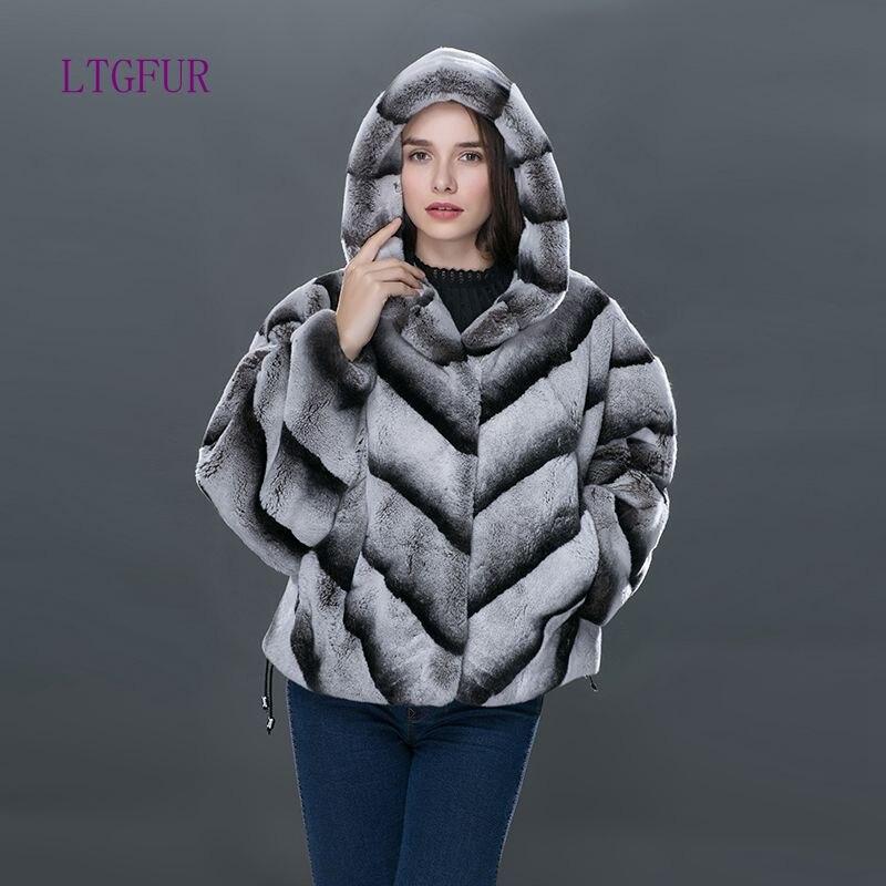 LTGFUR 2017 Fashion Rabbit Winter Coat Women s Fur Leather High Quality Genuine Leather Fur Short