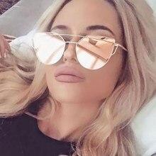 fb352f46d 2017 New Brand Designer Cat Eye Sunglasses Women Hot Stylish Lady Metal  Frame Mirror Sun Glasses Men Lunette Femme gafas de sol