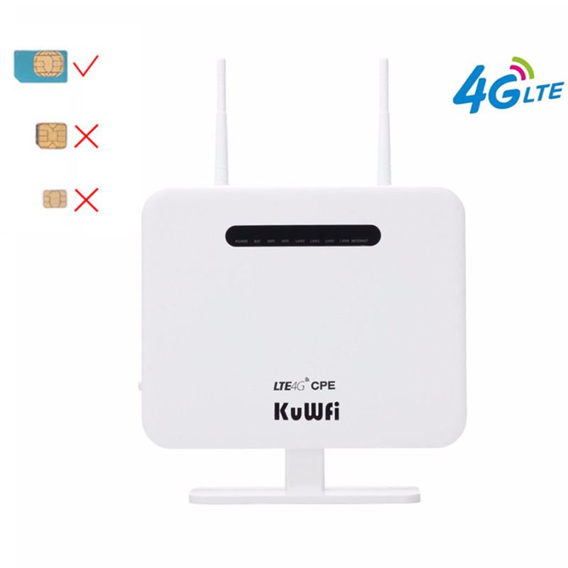 KuWFi 4G Routers LTE Wireless CPE Mobile Router With LAN Port Support SIM Card 300Mbps Wireless Router With External AntennasKuWFi 4G Routers LTE Wireless CPE Mobile Router With LAN Port Support SIM Card 300Mbps Wireless Router With External Antennas