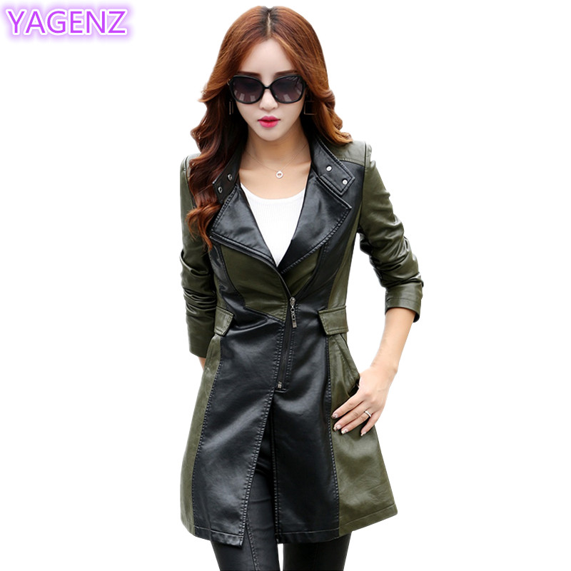 YAGENZ Large Size Women   Leather   Coat Autumn New Fashion Women Long Sectional   Leather   Windbreaker Coat Women Temperament Coat 317