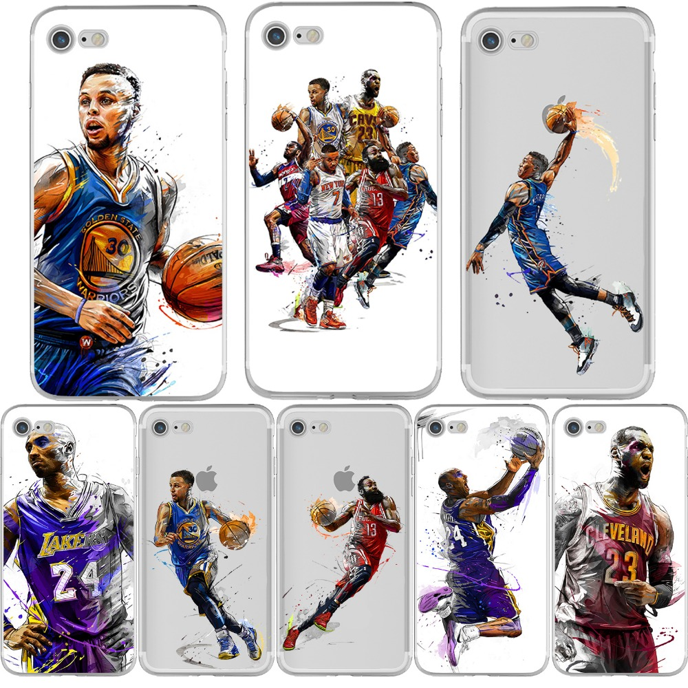 new arrival 1b988 857b0 Basketball Russell Westbrook Curry Harden James Kobe Phone Case for iphone  7 6 6S 8 PLUS X 10 5S SE Silicone Soft Capinha Coque