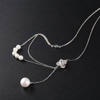925 Sterling Silver Flower Shape Pendant Link Chain Necklace Cultured Freshwater Pearls for Women Fashion Jewelry Accessories