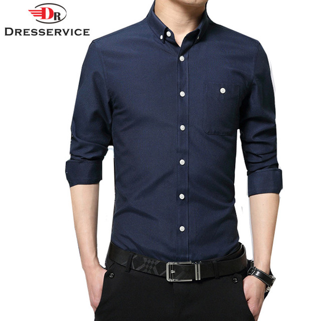 DRESSERVICE 2017 New Fashion Oxford Men Casual Shirt Long Sleeve ...
