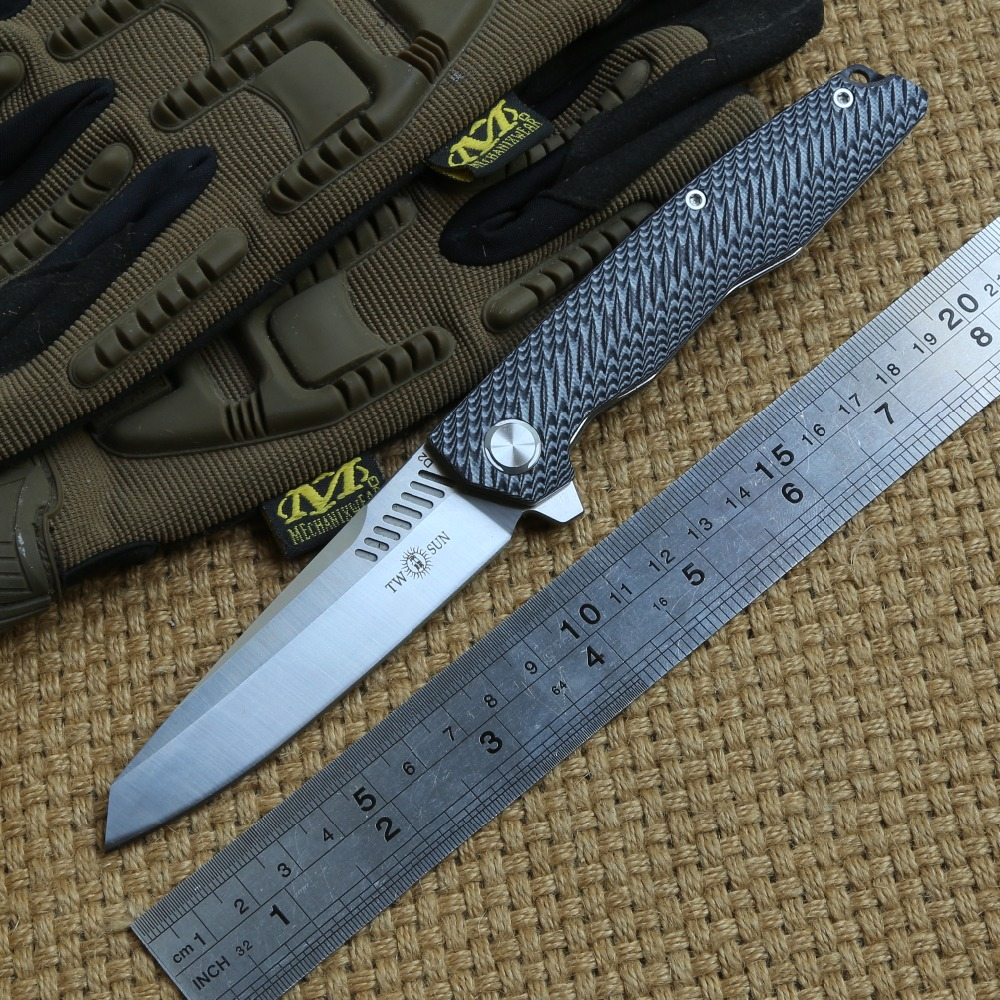 TWO SUN TS16 D2 Blade Flipper Ball Brearing Tactical Folding Knife G10 Handle Camping Pocket Knives Outdoor Survival EDC Tools