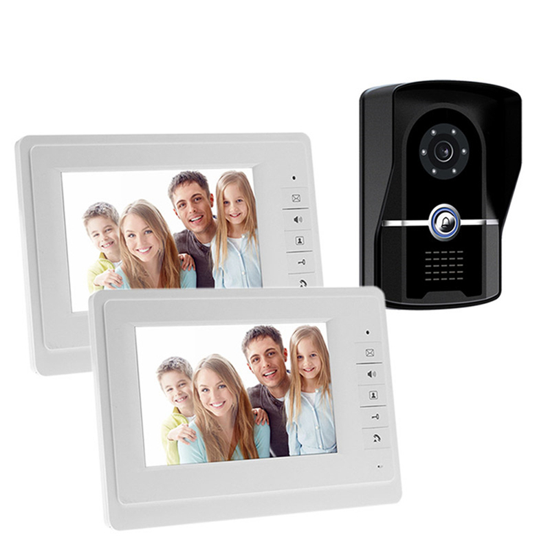 7 Inch Color Screen Video Door Phone Intercom System 700TVL Intercom Doorbell 1 Waterproof Door Camera And 2 Hands Free MonitorQ