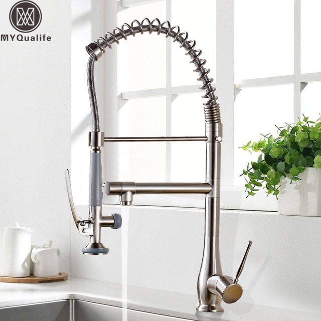 Brushed Nickel Spring Pull Down Kitchen Sink Faucet Kitchen Mixer Tap Handheld Kitchen Sprayer Head with Lock Hot Cold  Water