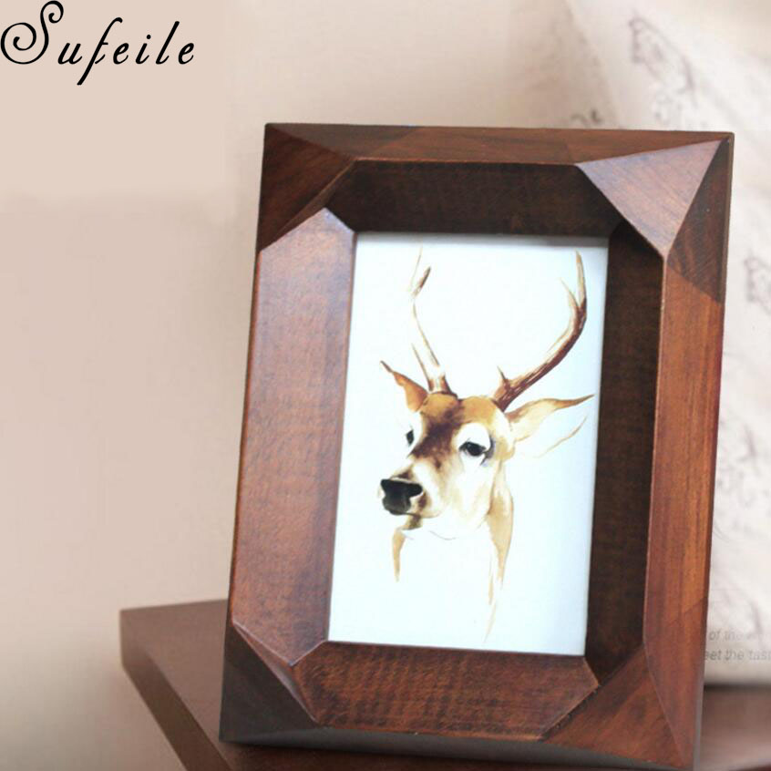sufeile 1pc 6 inch solid wood creative modern furnishings frame fashion decoration 6 inch solid wood frame hd lenses d50