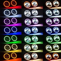 7 Inch LED Headlight 60W With Multicolor RGB Halo Angle Eye APP Bluetooth Remote For Jeep