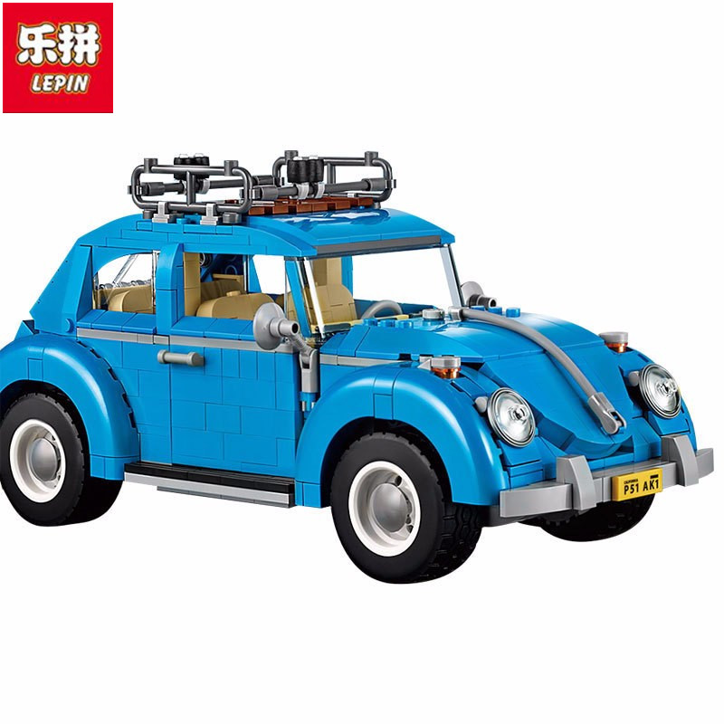 LEPIN 21003 Creator Series City Car Volkswagen Beetle Building Blocks Model Compatible Legoingly Blue Technic Toys gonlei 10566 series volkswagen beetle model sets building kit blocks bricks toy compatible with