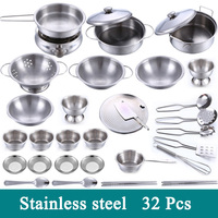 32 Pcs Stainless Steel Pretend Play Cook Toy Children Kitchen Toys Miniature Cooking Set Simulation Tableware Toy For Kids Gift