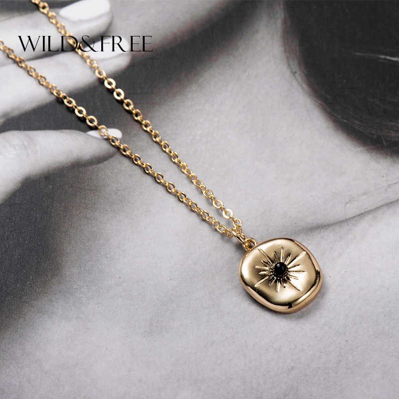 Wild & Free ผู้หญิงจี้สร้อยคอทองสีเรขาคณิตสร้อยคอและ Pendients แฟชั่นเครื่องประดับสร้อยคอของขวัญ