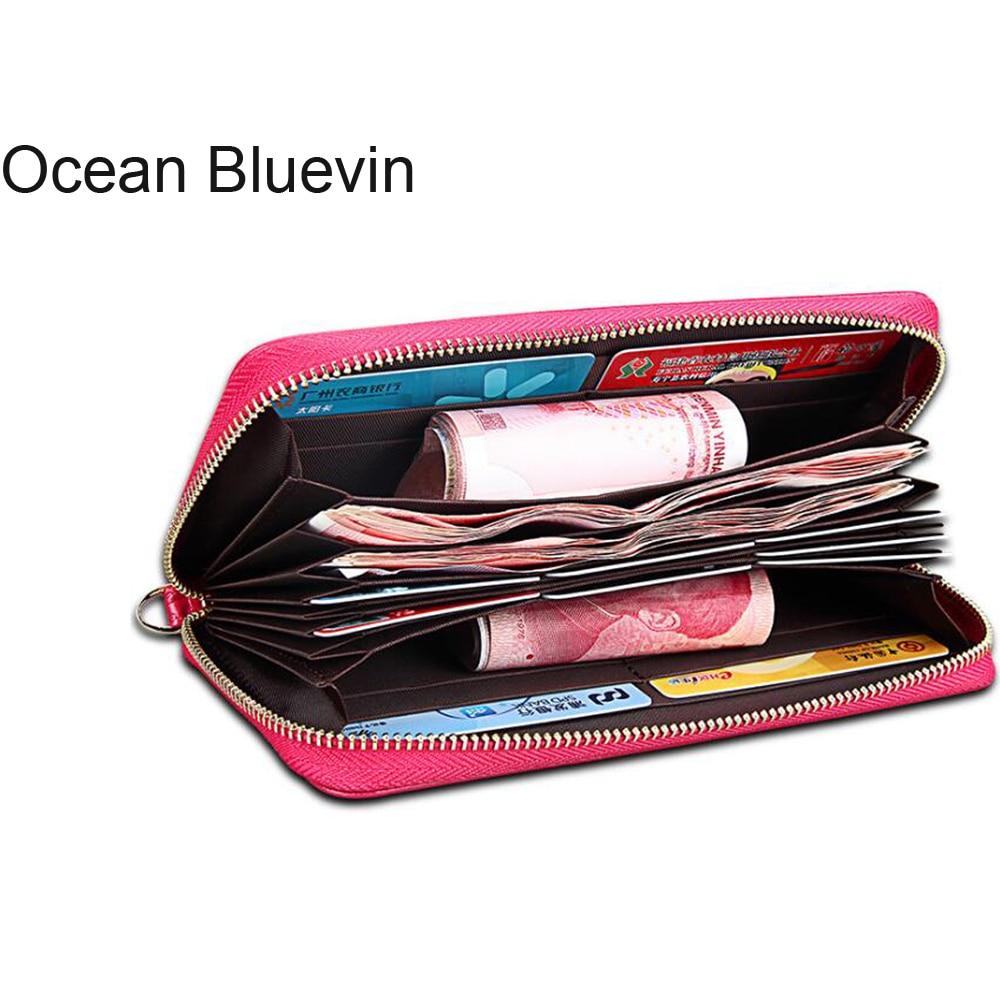 OCEAN BLUEVIN New Hot Wallet Women Leather Genuine Coin Purse Zipper Women Wallets Long Section RFID Anti-Theft Brush Wallet
