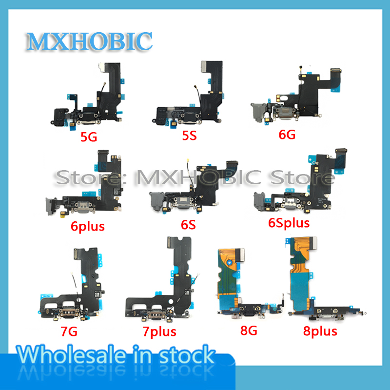 10pcs/lot Charging Flex Cable for iPhone 6 6S 7 8 Plus X XS Max XR 5 5S 5c SE Dock Connector USB Charger Port Ribboncharging portflex cablecable ribbon -