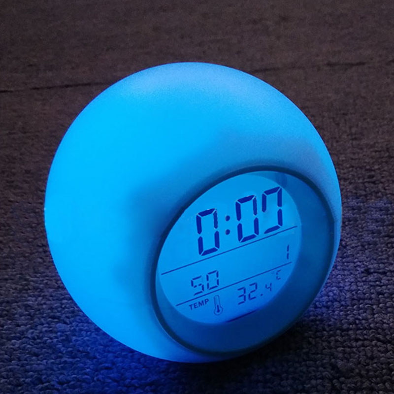 Wake Up Light Alarm Clock Digital Time Temp Date Display Night Light LED Lamp