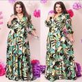 2016 Tamanho Plu 6 XLSummer Vestido de Verão 2016 As Mulheres Se Vestem Vestidos Sexy de Três Quartos Impressão do Assoalho-Comprimento de Uma Linha Do Vintage mulheres 6XL