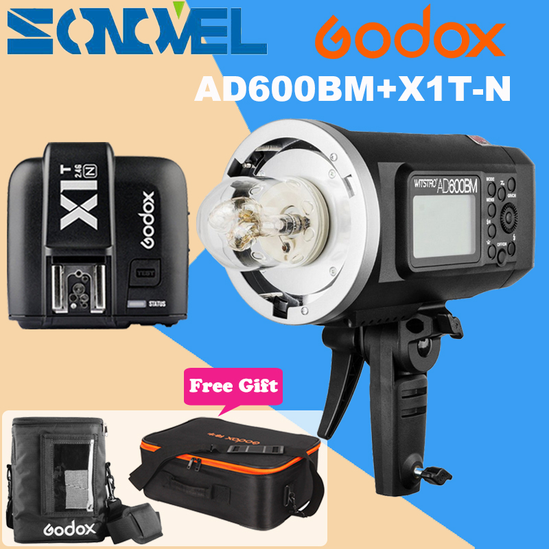 Godox AD600BM HSS 1/8000s 600W GN87 Outdoor Flash Light (Bowens Mount)+X1T-N Wireless Trigger For Nikon D810 D750 D500 D5 D4s godox ad600bm bowens mount 600ws gn87 1 8000 hss outdoor flash strobe monolight with x1c wireless trigger 32 x32 softbox stand