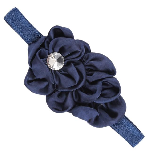 YOST  Bandeau des Fleurs pour Bebes Filles Mousseline de Soie Beaute(marine)