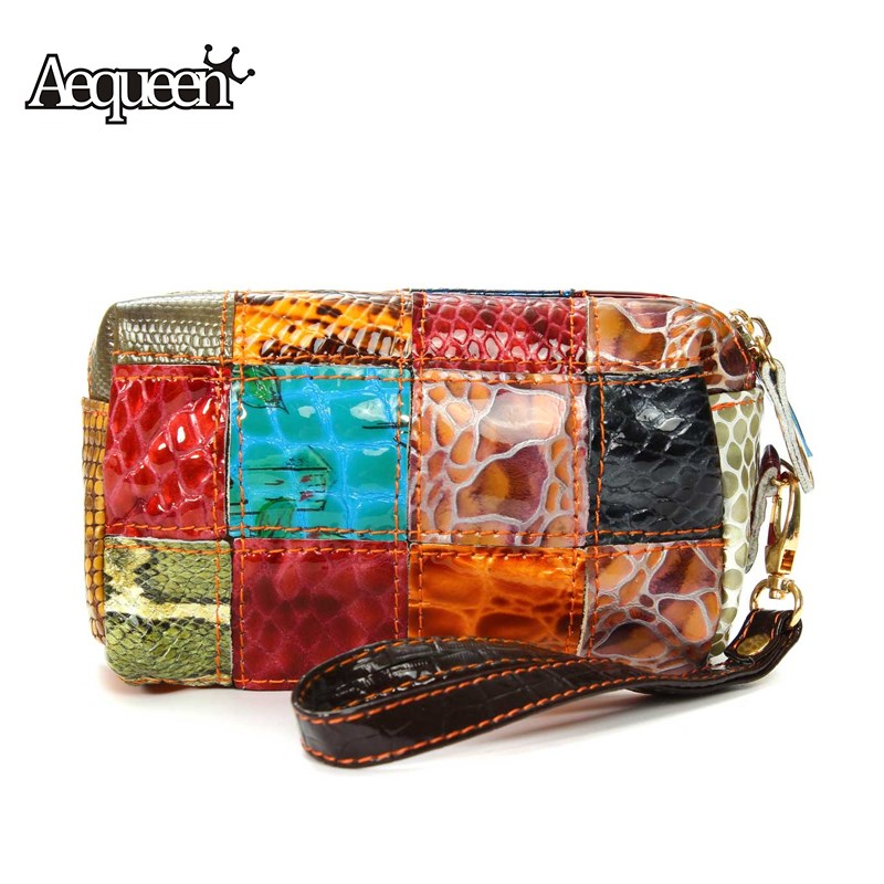 AEQUEEN Coin Purse Genuine Leather Wallet Women Coins Wallets Zipper Patchwork Long Lady Money Pouch Card Storage Random Color