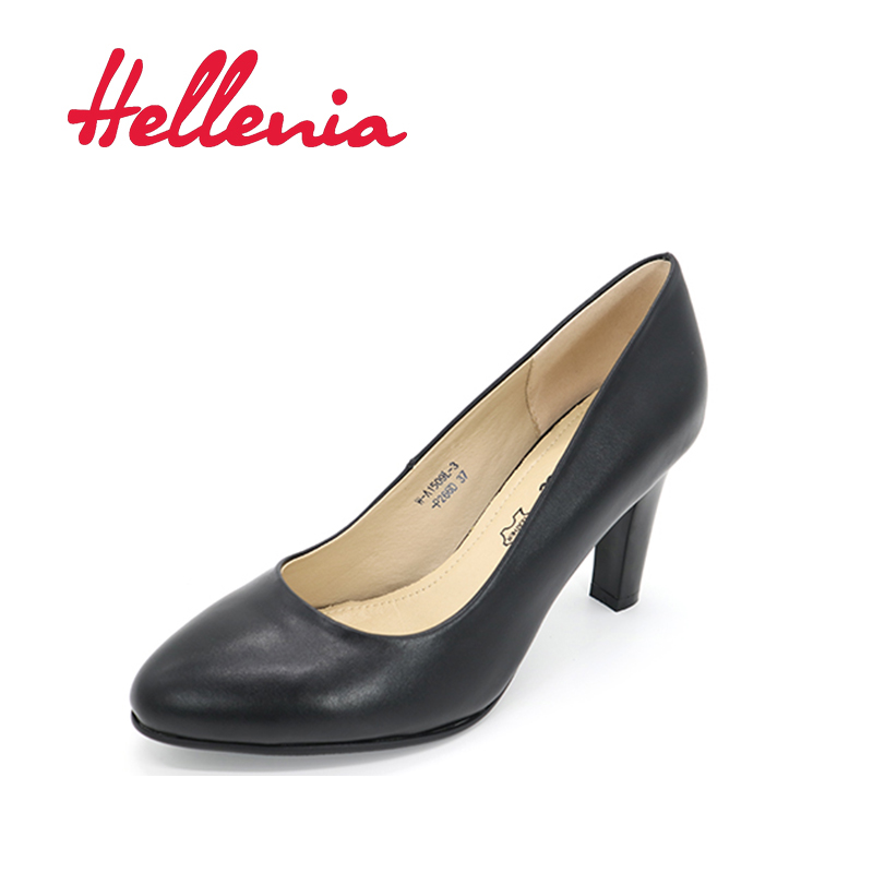 Hellenia black PU Woman Dress Pump Work shoe pointed toe Thin High Heel 8.5CM Ladies Summer Autumn Shoes Fashion office Shoe baon весна лето 2017 vogue