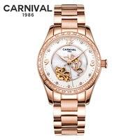 Carnival Rose Gold Automatic Watch Women Diamond Mechanical Watches Butterfly Ladies Wristwatch Girl Clock montre femme 2018