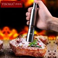 YISOMA Stainless steel pepper grinder manual powderer Restaurant home pepper mill seasoning jar powderer