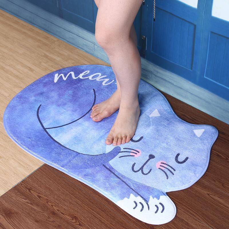 Washable Kitchen Rug Bath Mat Bathroom Products Rug Doormat Bathroom Mat Tea Table Bibulous Antiskid False Sleeping Cat Carpet